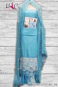3 Piece Sky Blue Color Designer Master Replica Chikankari Embroidery Eid Suit