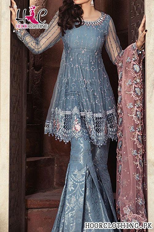 86a2429483 2 Piece Embroidered Dark Grey Color Designer Master Replica Eid Wedding Wear  Pure Chiffon Suit