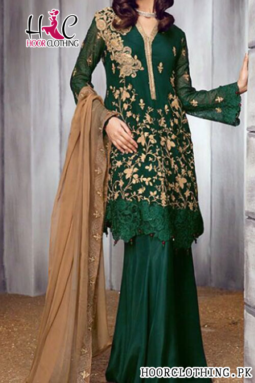 2 Piece Heavy Embroidery Zink Color Pure Chiffon Eid Party Wear Dress