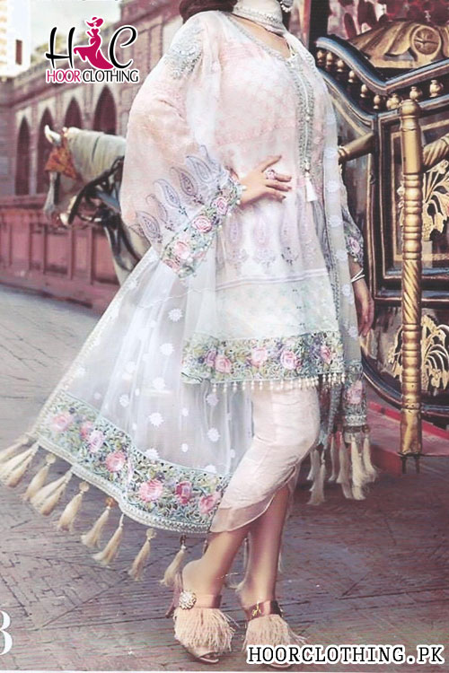 2 Piece White & Pink Color Heavy Embroidery Eid Wedding Wear Pure Chiffon Suite