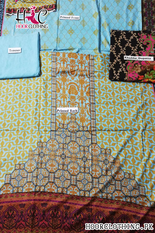 Girls Linen Suit Winter Collection Sky Blue & Beige Color With Khaddar Dopatta