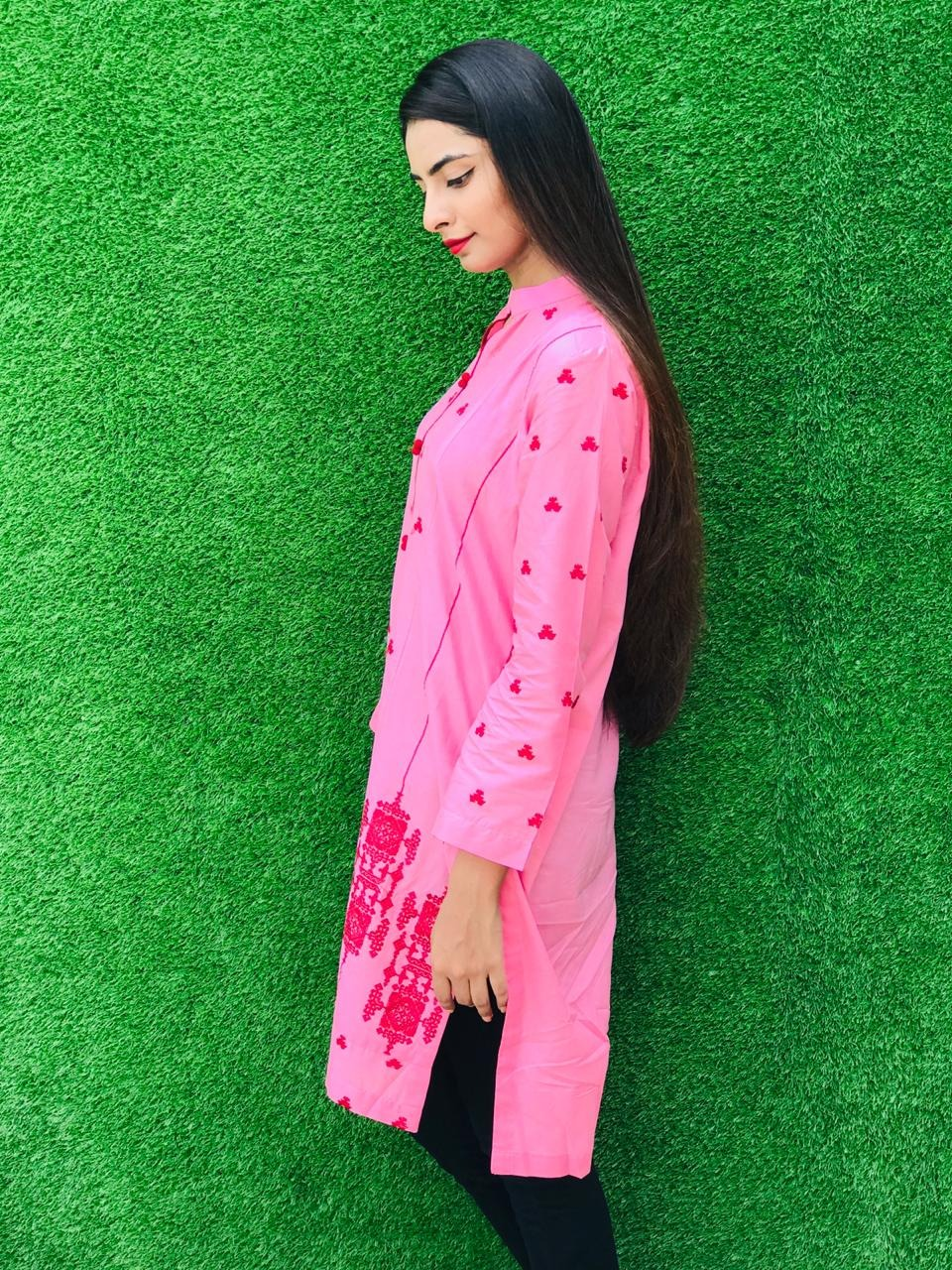 Fuchsia District Stitched Pink Kurta Eid Dress For Women