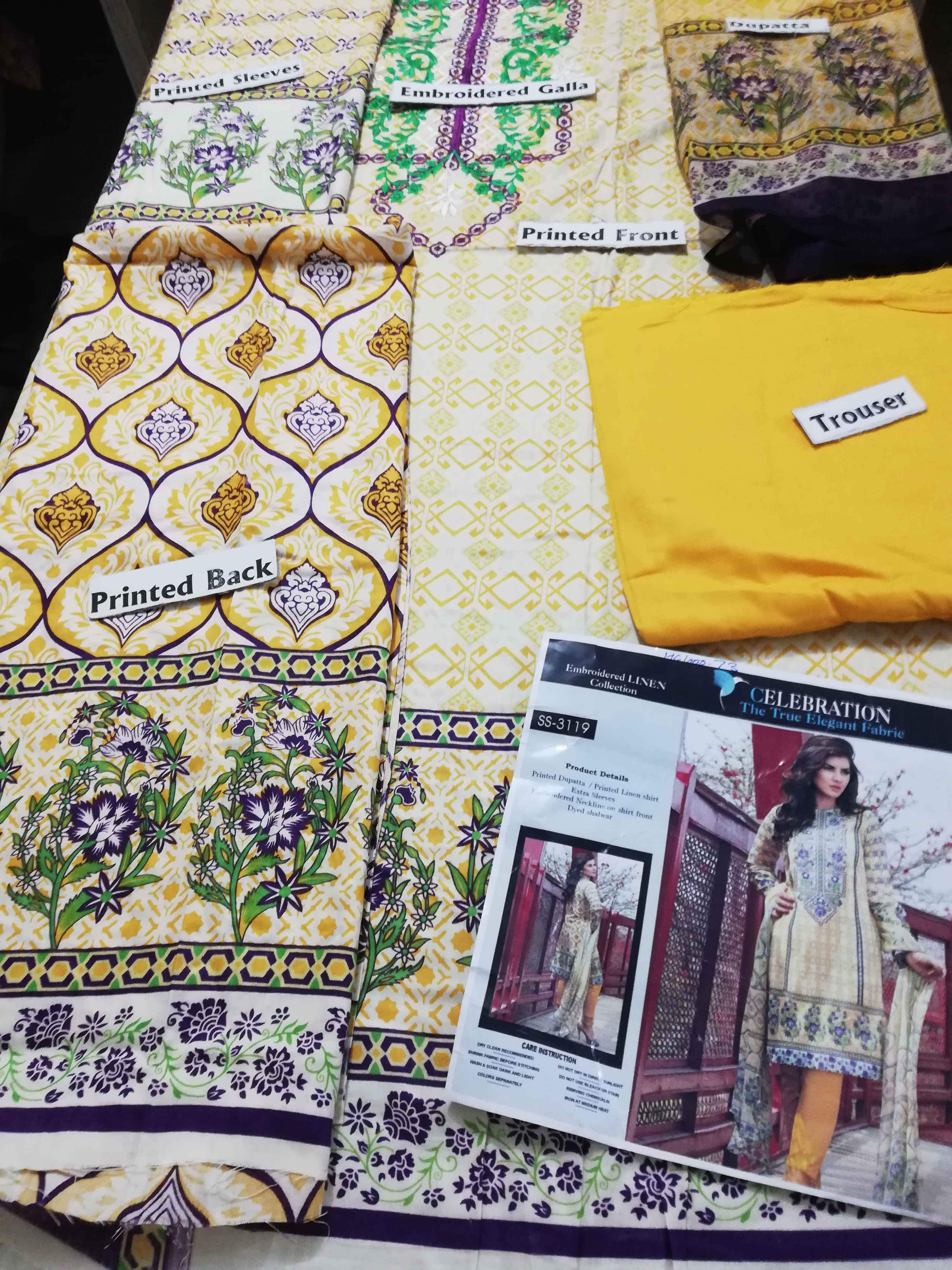Yellow Color Linen Designer Dress With Printed Chiffon Dopatta For Women