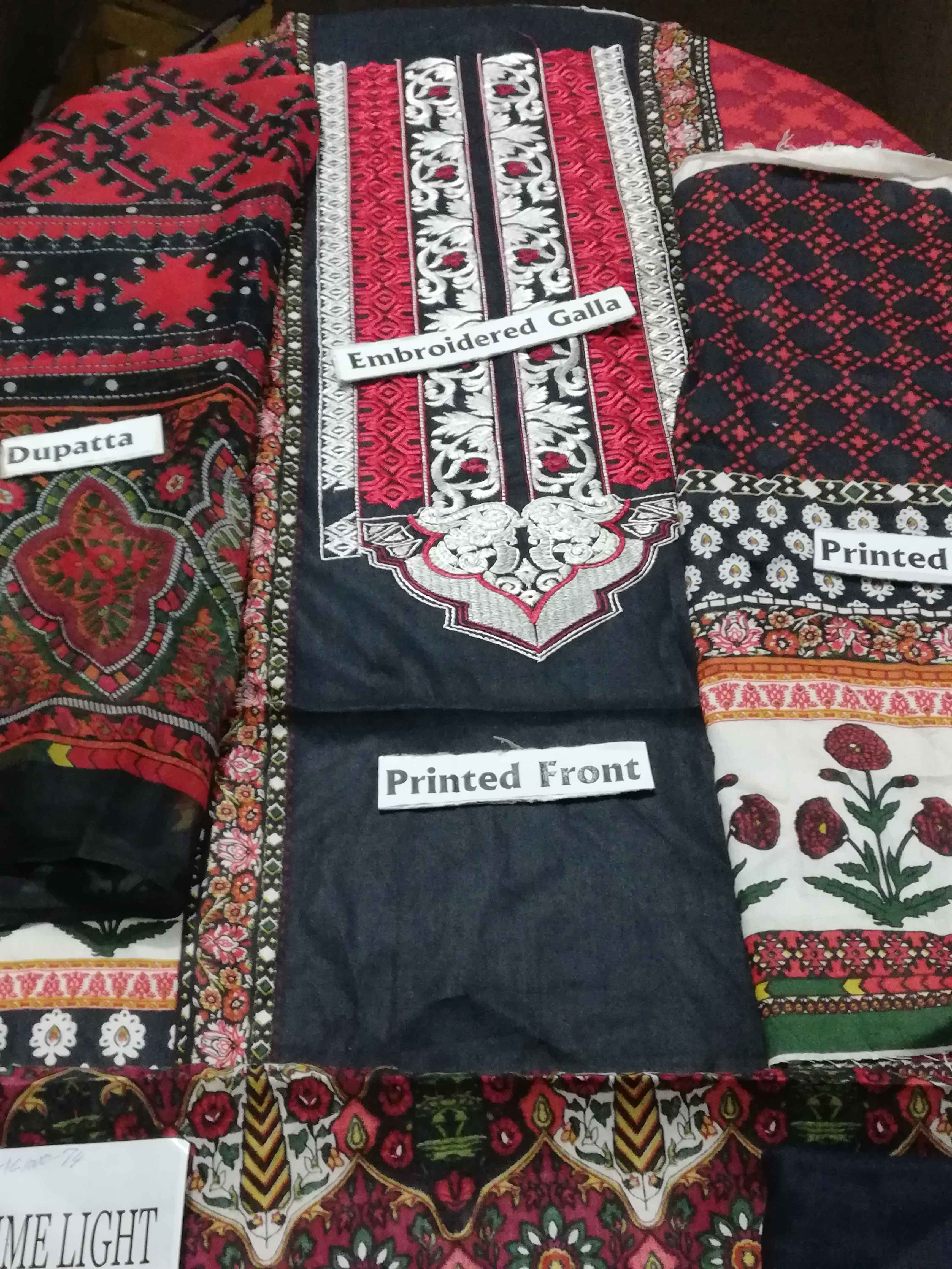 Linen Designer Dress Red & Black Color With Printed Chiffon Dopatta For Women