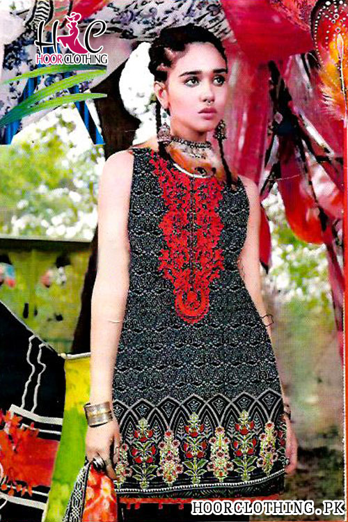 3 Piece Lawn Ladies Dress In Charcoal Color