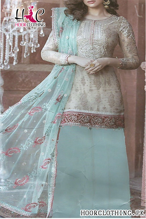 3 Piece Teal Color Heavy embroidery Eid Party Wear Lawn Suit With Bamber Chiffon Dupatta