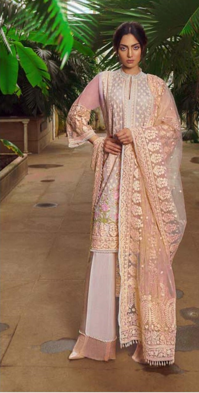 3pc Heavy Embroidered Bareeza lawn Dress with Embroidered Net Dupatta with 4 Side Heavy Border