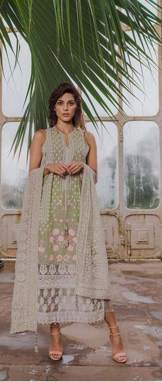 3pc Ladies full Embroidered Dress with Embroidered net duppta