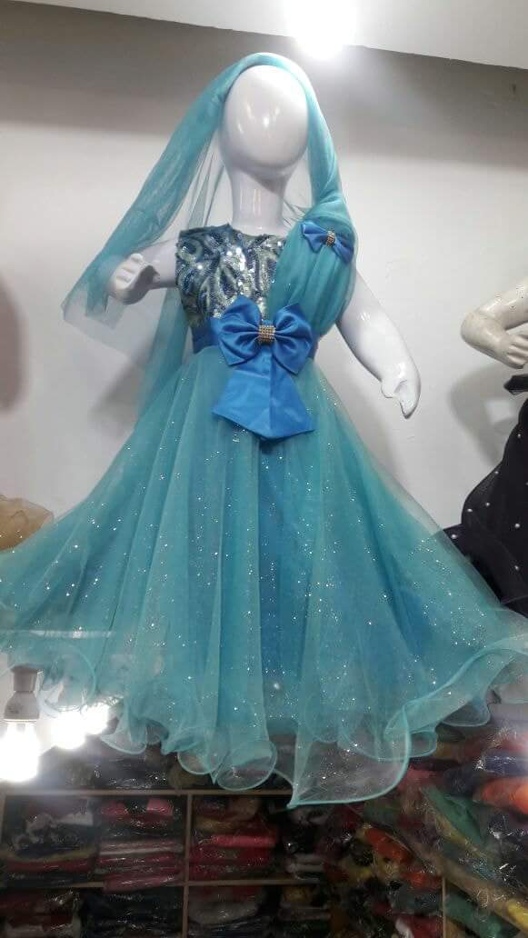 Aqua Blue Girls Frock with Bow Ready to wear