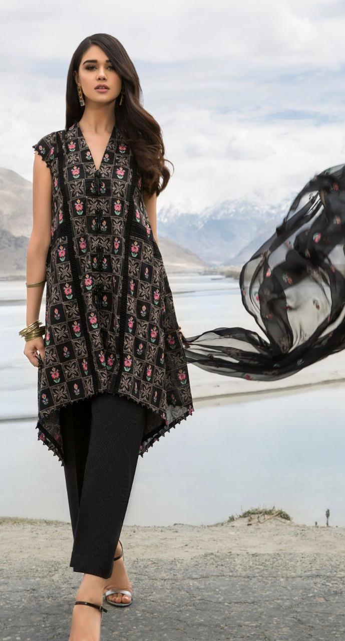 Bareeze Brand Replica 3pc lawn collection Summer Dress with bamber Chiffon embroidered dupatta