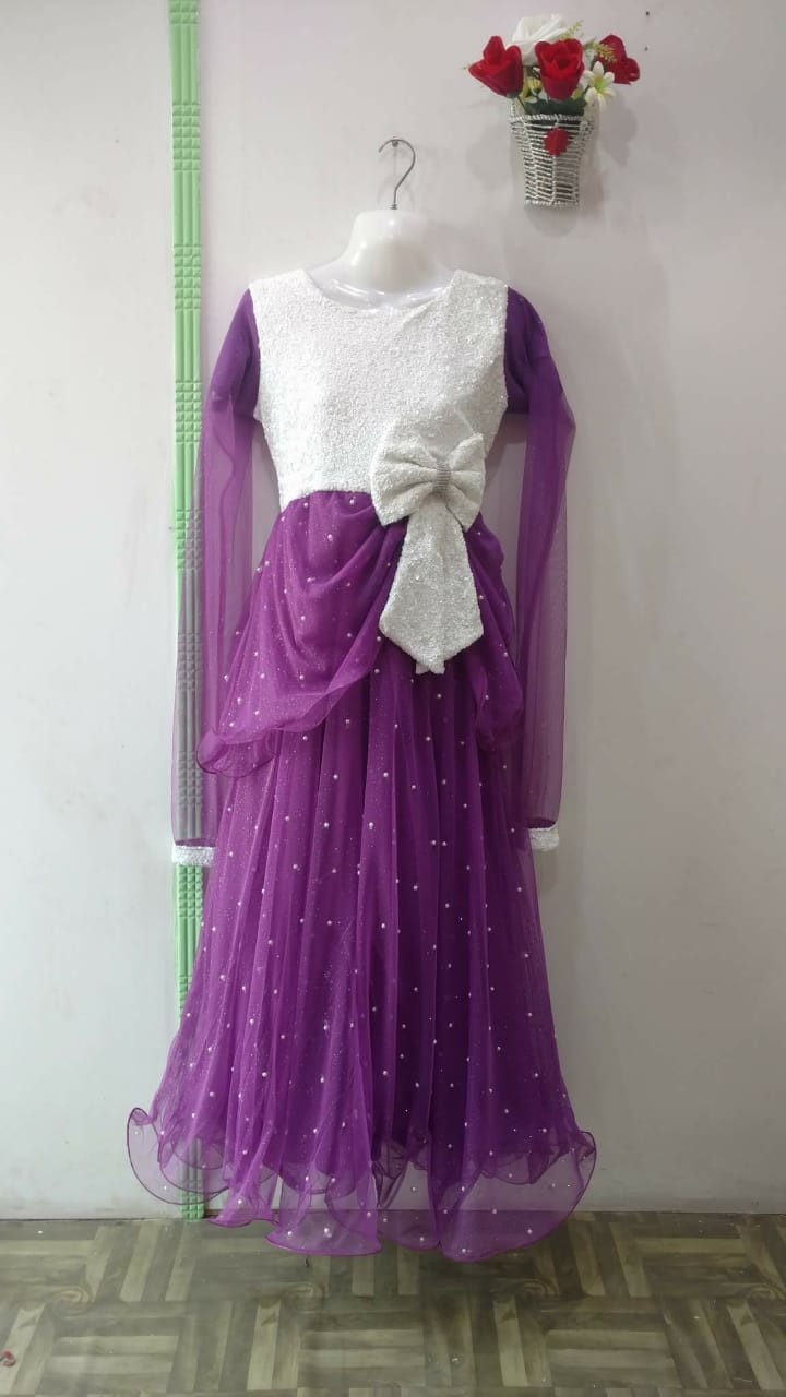 Beautiful combo White and purple frock for girls with Bow tie
