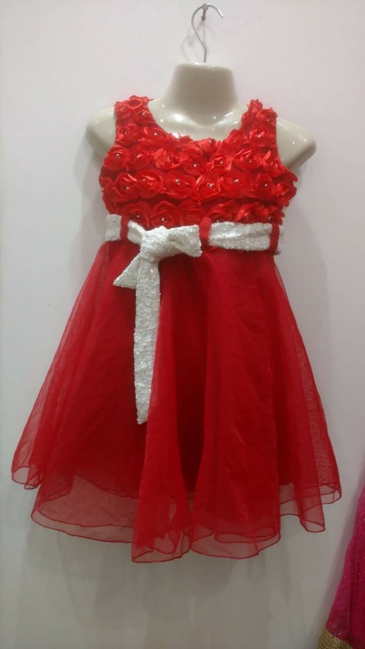 Beautiful hot red color frock for girls with bow