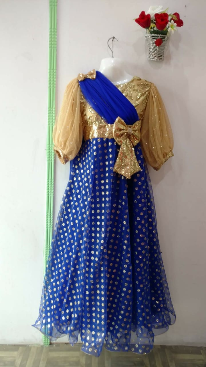Blue dot Beautiful girls Frock with Bow tie