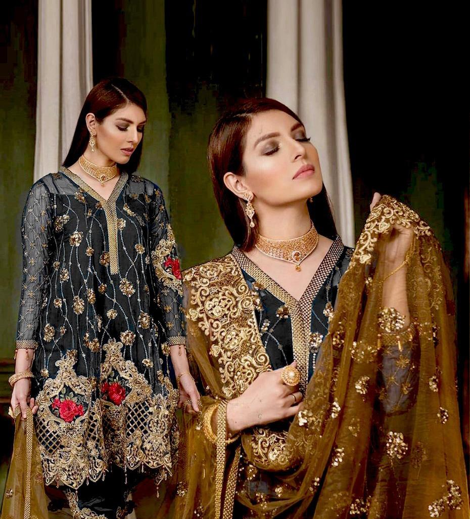 Brand Maryum n Maria 3pc Lawn Summer Dress with Bamber Chiffon embroidered dupatta