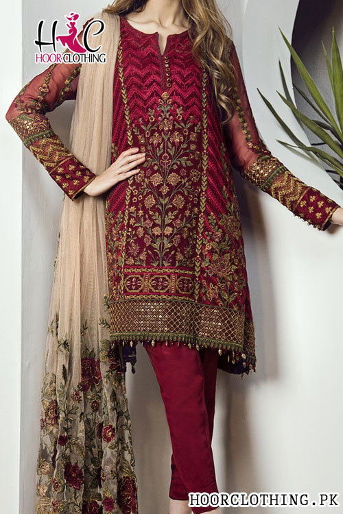 Cherry Rose Heavy Embroidery Lawn Eid Party Suit Master Replica