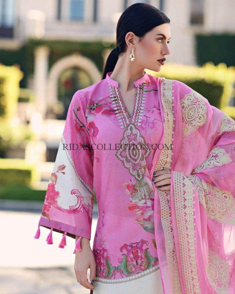 Chrizma 3pc Hit Lawn embroidered Collection Summer Dress with Chiffon duppta