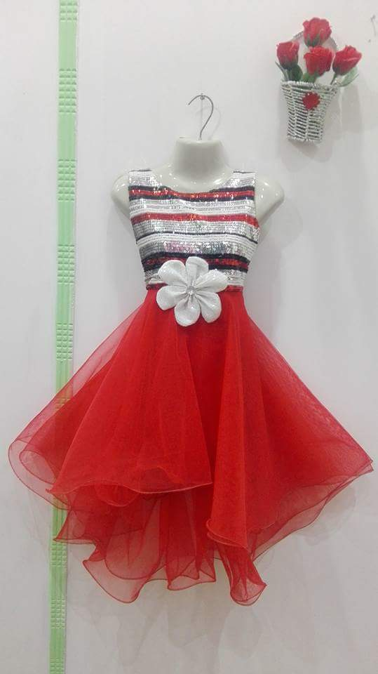 Eid collection of Frocks for Girls - Red Color with White Flower
