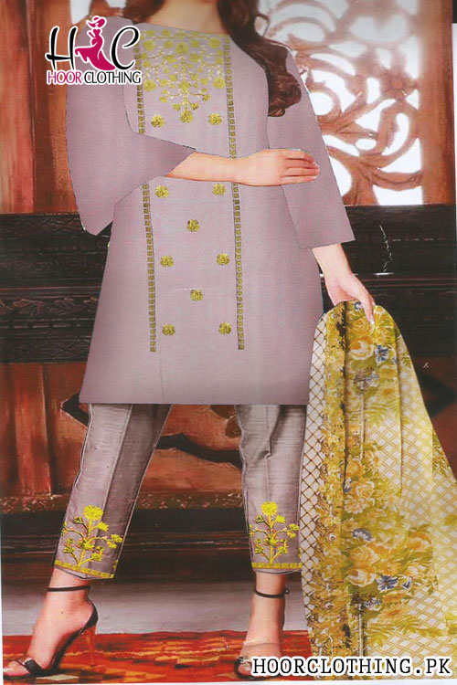 Embroidered Lawn Shirt Summer Collection Suit With Printed Chiffon Dupatta
