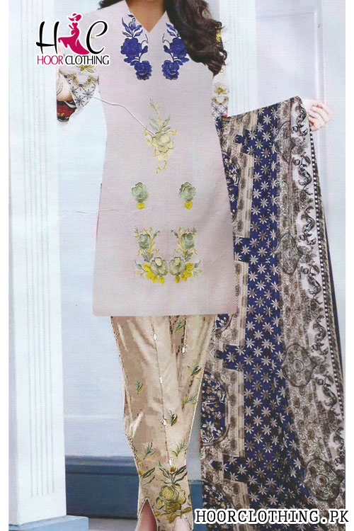 Embroidered Summer Collection Shirt & Trouser Lawn Dress Master Replica By Charizma
