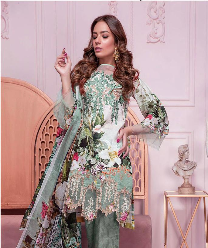 Firdous Brand Replica 3pc Lawn Collection Summer Dress with Chiffon dupatta
