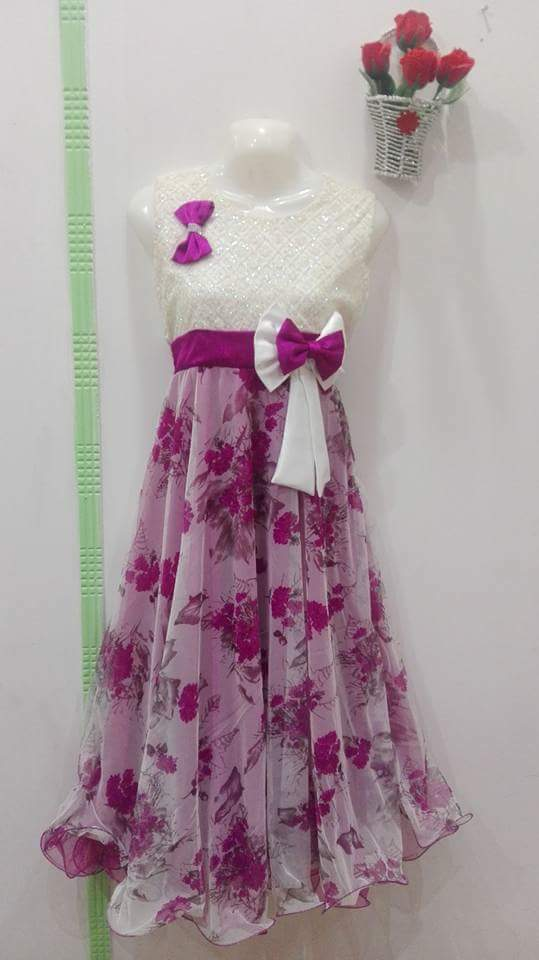 Girl's Eid collection beautiful Long frock in White And Purple color with bow tie 1-18 Age