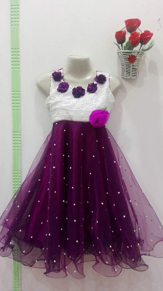Girls Plump Color Frock with white body and Flowers