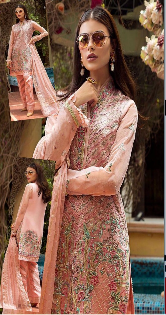 Ladies 3pc Embroidered Chiffon suit with Embroidered Organza Dupatta