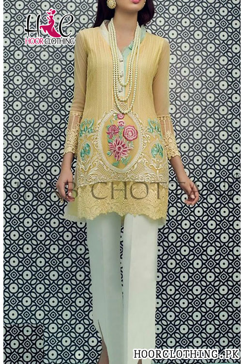Ladies Kurti Heavy Embroidered Front Lawn 2 piece Dress For Eid (Lime, white)