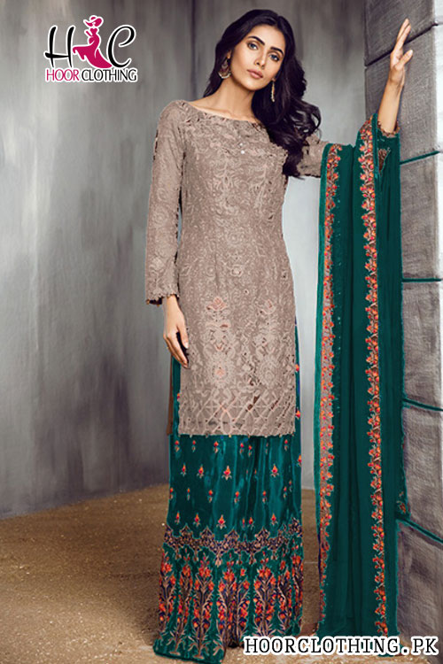 Latest EID COLLECTION Embroidered Lawn Master Replica Grey & Ferozi