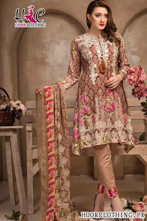 Lawn Ladies Peach Color Dress With Chiffon Dopatta