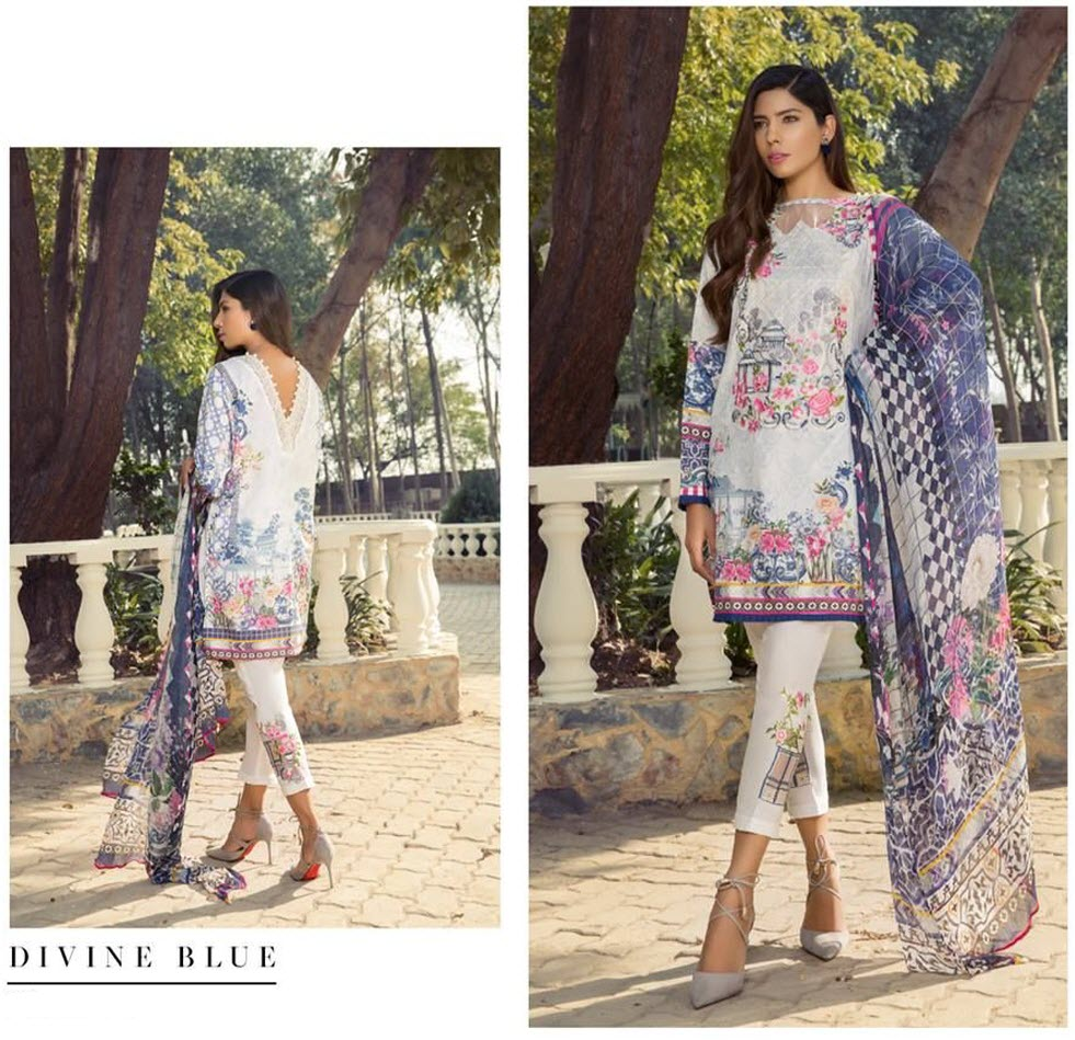 Linen Designer Dress Divine Blue Color With Printed Chiffon Dopatta For Women
