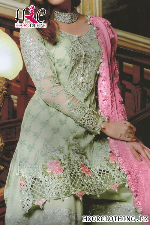 Luxury Lawn Eid Party Wear Summer Collection Master Replica Un-stitched 3 Piece Dress (Pista)