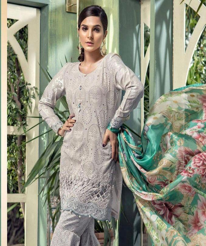 Maria b 3pc Lawn Collection Summer Dress with Chiffon dupatta