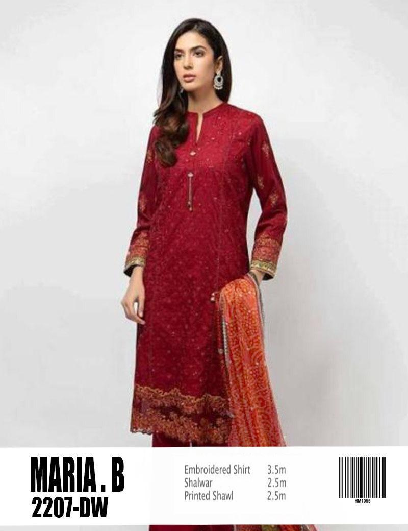 Maria b 3pc Lawn Collection Summer Dress with embroidered Trouser
