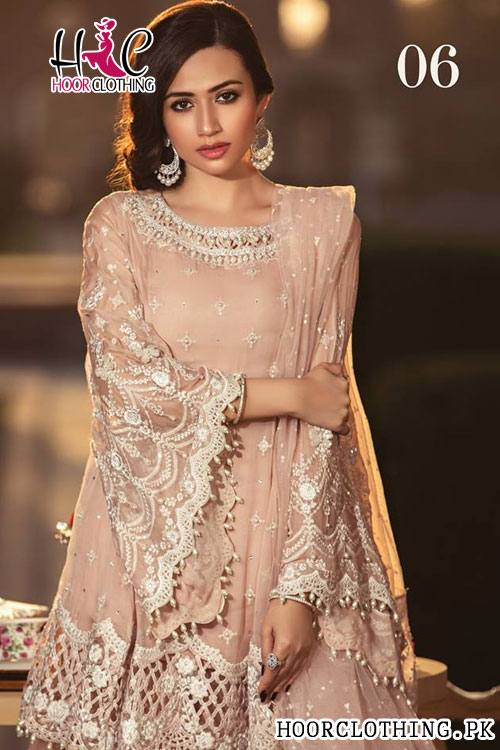 305a1c706b Master Replica Maria B Luxury Embroidered Peach Lawn Eid Collection 2019