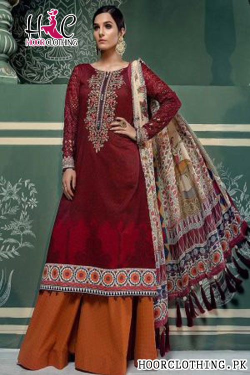 Master Replica of Maria B Luxury Maroon Embroidered Lawn Eid Collection