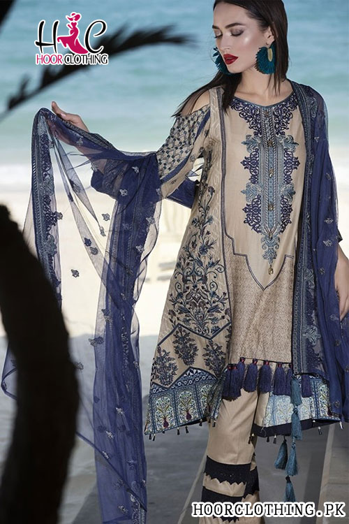 Motifz Turkish Blended Embroidered Replica Lawn Dress