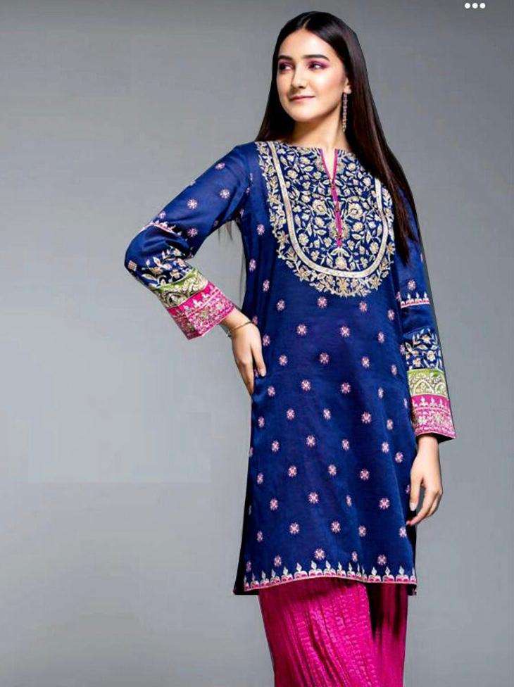 Nishat Brand Replica 2pc Lawn Collection Summer Dress with Bamber Chiffon embroidered dupatta
