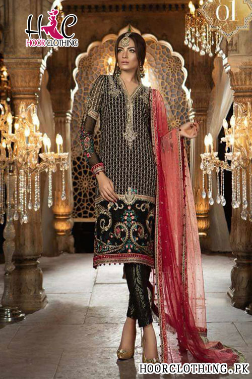 5fa237c03f Pure Chiffon 2 Piece Heavy Embroidered Black Color Eid Dress with Mahroon  and peach Dye Dopatta