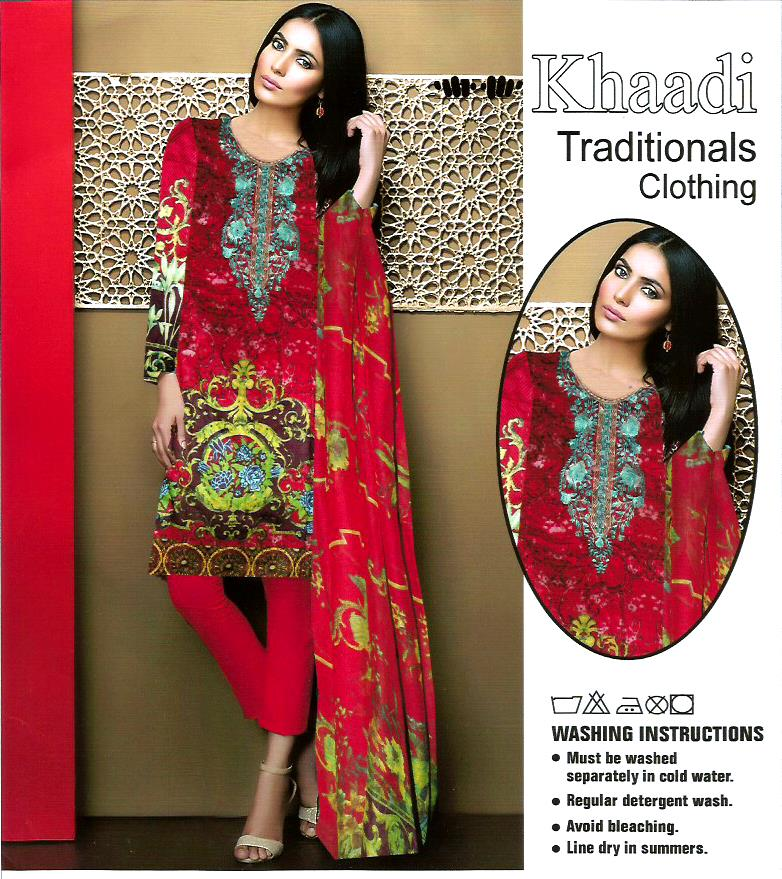 Red Color Linen Dress With Printed Chiffon Dopatta For Women