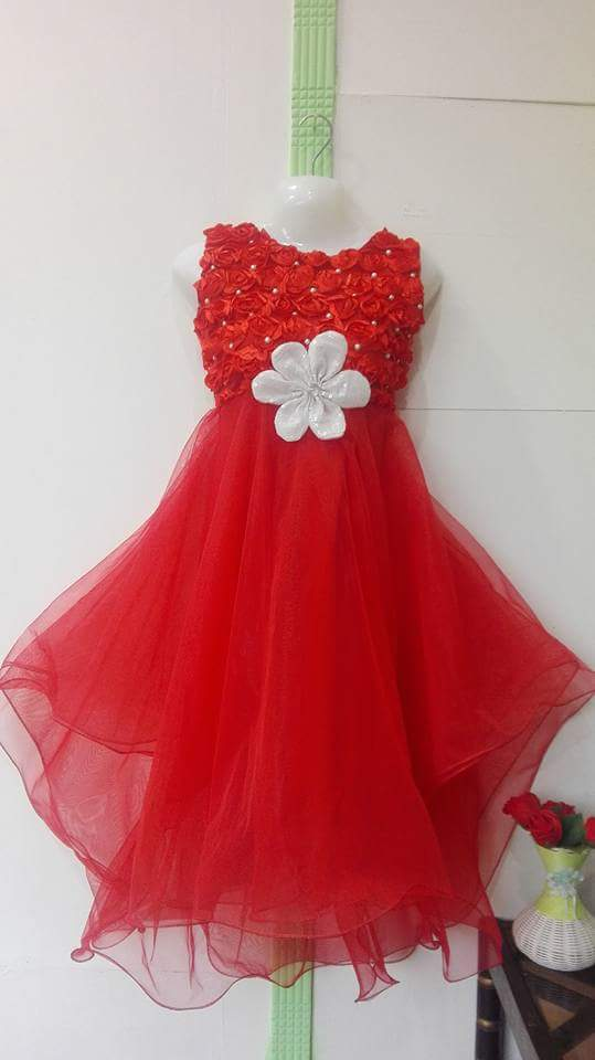 Red Color Net Frock for Girls with white Flower Size 1-18 years
