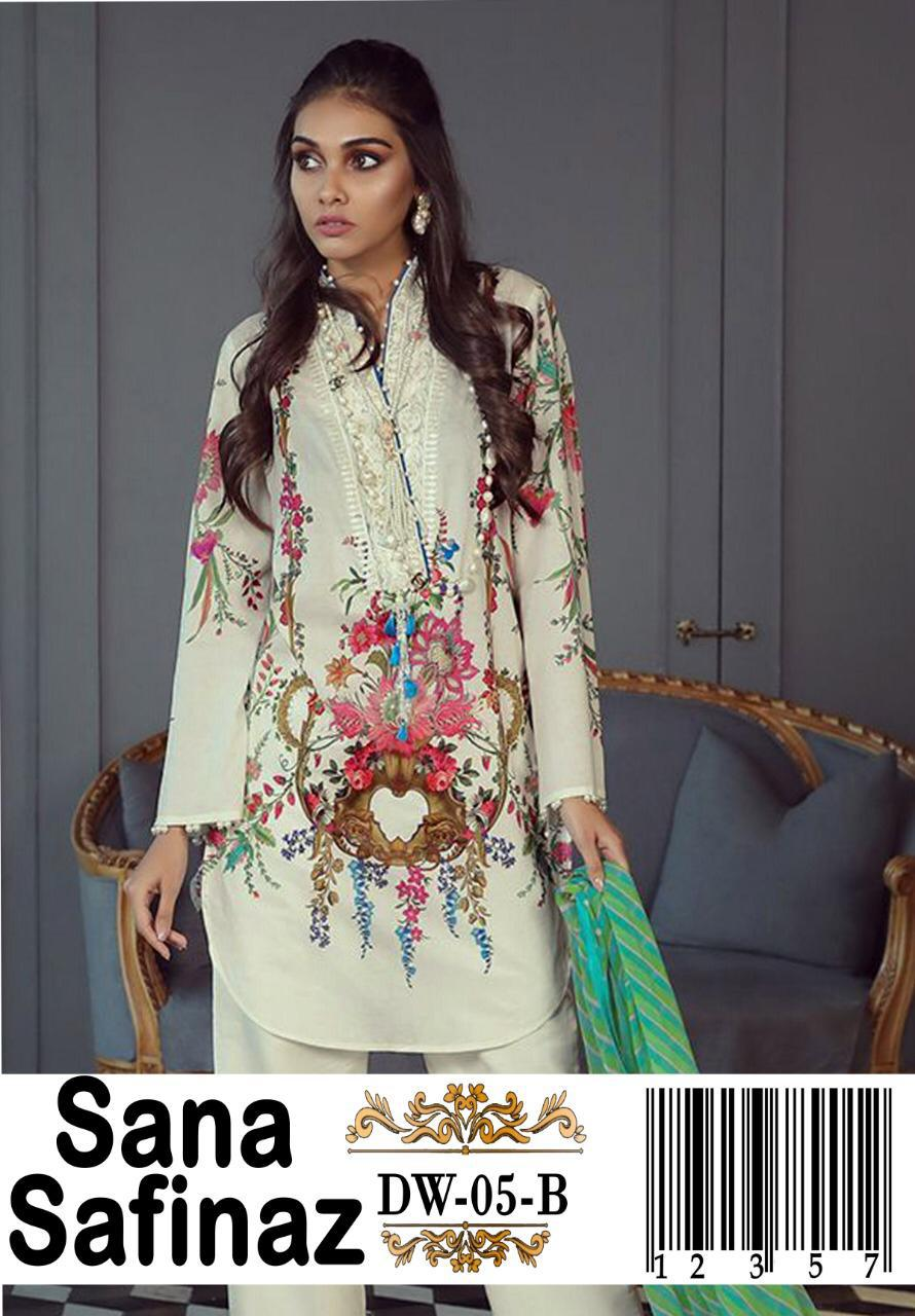 Sana Safinaz 3pc Lawn embroidered Collection Summer Dress with Chiffon duppta