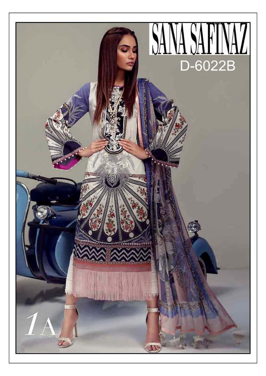 Sana Safinaz 3pc Lawn embroidered CollectionSummer Dress with Chiffon duppta & embroidered Trouser