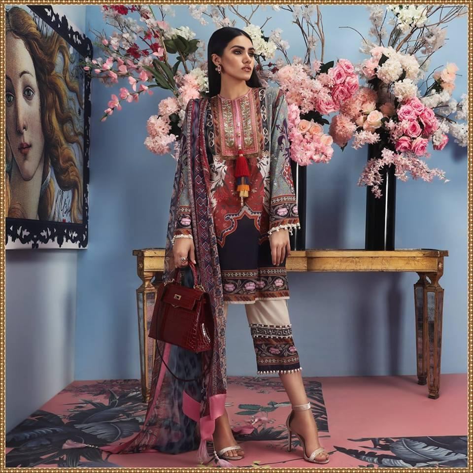 Sana Safinaz Master Replica 3pc embroidered Lawn Collection Summer Dress with Chiffon duppta