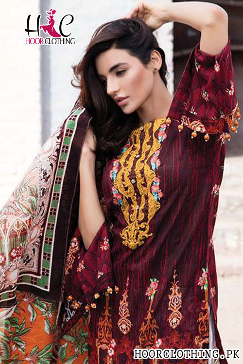 Summer Collection Mahroon Color Women Lawn Suit With Chiffon Dopatta