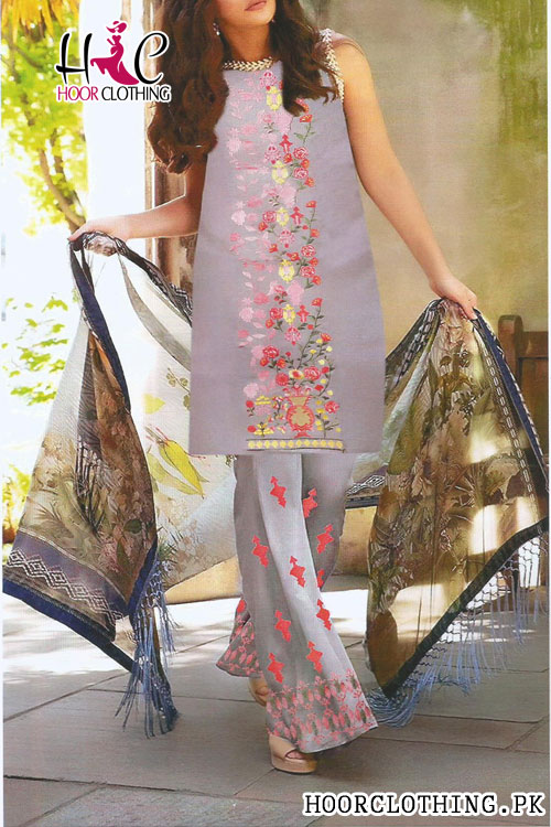 Summer Lawn Dress Front Embroidered With Printed Chiffon Dupatta (Grey)