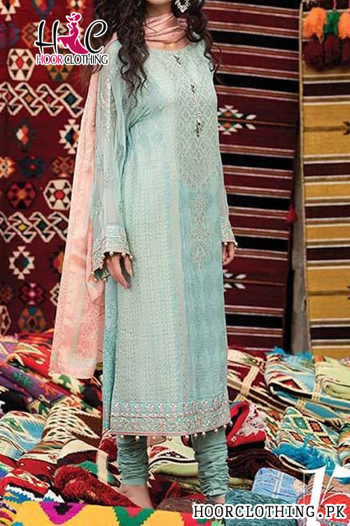 Summer Lawn Green Dress With Embroidered Trouser