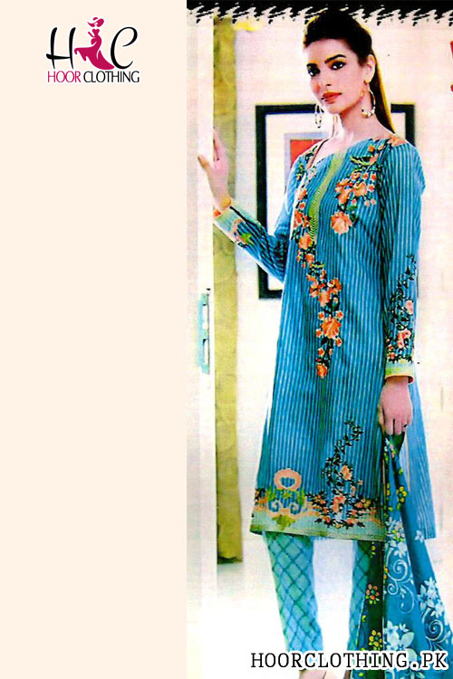 Teal Color Women Summer Collection Linen Suit With Linen Dopatta