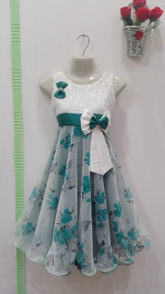 White and green frock for girls with double bow tie