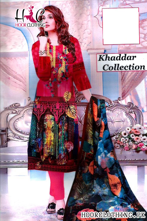 Winter Collection Girls Khaddar Suit Pink Color With Khaddar Dopatta